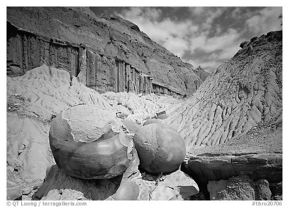 Big cannon ball formations in eroded badlands, North Unit. Theodore Roosevelt  National Park (black and white)
