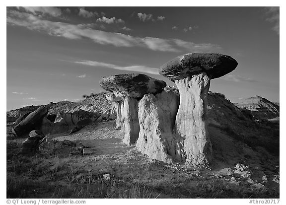Caprock formations, late afternoon, Petrified Forest Plateau. Theodore Roosevelt National Park (black and white)