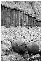 Cannon balls and erosion formations. Theodore Roosevelt National Park, North Dakota, USA. (black and white)