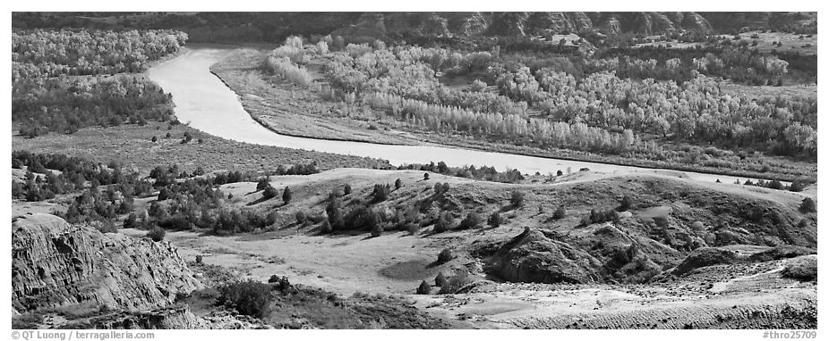 River, badlands, and aspens in the fall. Theodore Roosevelt National Park (black and white)