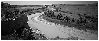 Riverbend and bluff. Theodore Roosevelt National Park (Panoramic black and white)