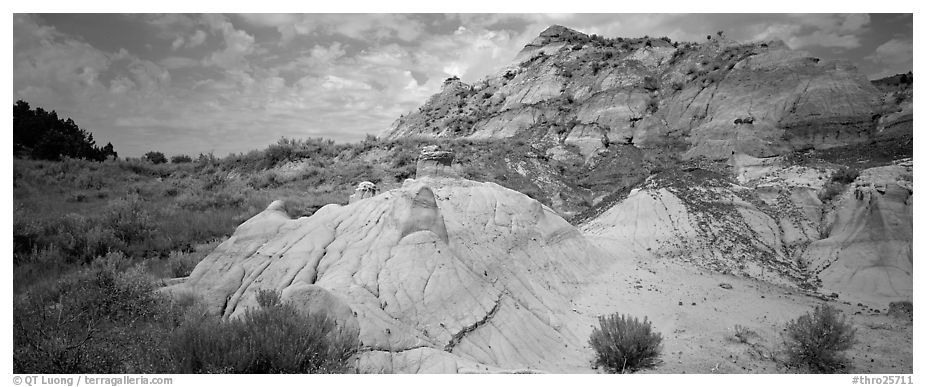 Multi-colored badland scenery. Theodore Roosevelt National Park (black and white)