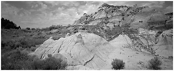 Multi-colored badland scenery. Theodore Roosevelt National Park (Panoramic black and white)