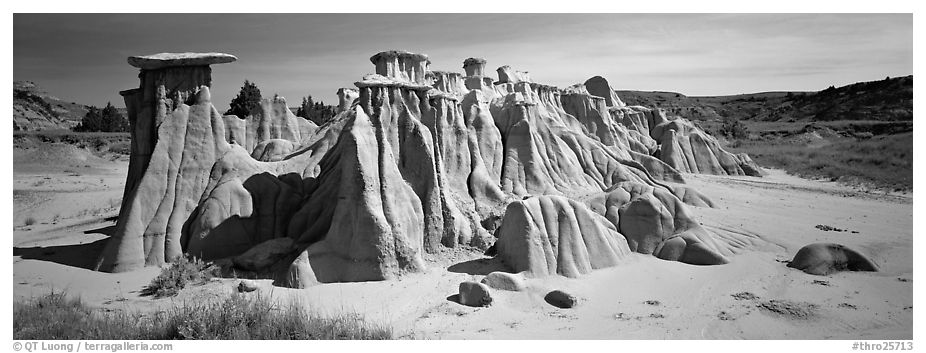 Erosion landscape with pedestal formation. Theodore Roosevelt National Park (black and white)