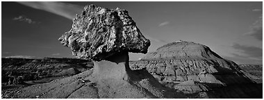 Badlands scenery with pedestal petrified log. Theodore Roosevelt National Park (Panoramic black and white)