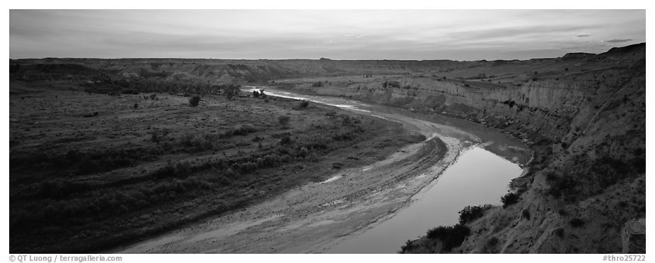 Scenic view of riverbend at sunset. Theodore Roosevelt National Park (black and white)