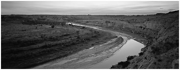 Scenic view of riverbend at sunset. Theodore Roosevelt National Park (Panoramic black and white)