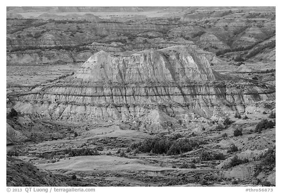 Butte with red scoria cap, Painted Canyon. Theodore Roosevelt National Park (black and white)