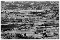 Grasslands and badlands, Painted Canyon. Theodore Roosevelt National Park ( black and white)