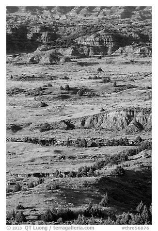 Rolling prairie and badlands, Painted Canyon. Theodore Roosevelt National Park (black and white)