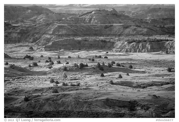 Late afternoon light, Painted Canyon. Theodore Roosevelt National Park (black and white)