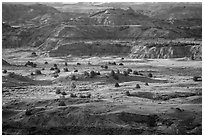 Late afternoon light, Painted Canyon. Theodore Roosevelt National Park, North Dakota, USA. (black and white)
