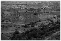 Sunset light over North Dakota badlands. Theodore Roosevelt National Park ( black and white)