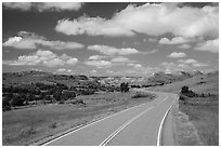 Scenic loop road, South Unit. Theodore Roosevelt National Park, North Dakota, USA. (black and white)