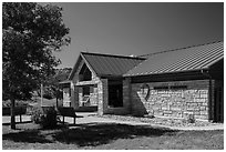 North Unit Visitor Center. Theodore Roosevelt National Park, North Dakota, USA. (black and white)