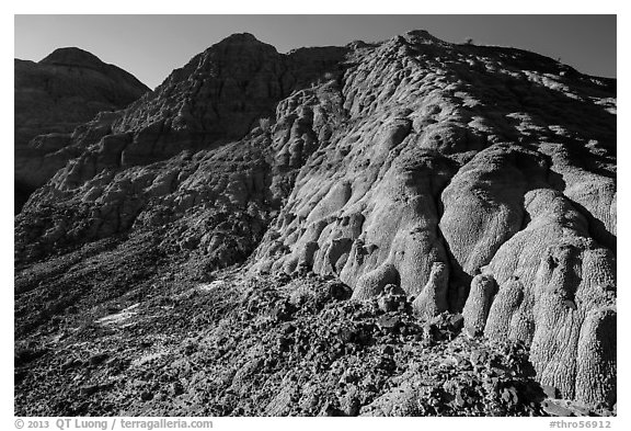 Butte with scoria. Theodore Roosevelt National Park (black and white)