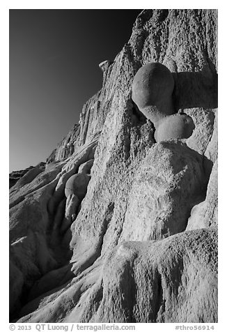 Cannonball concretions on cliff. Theodore Roosevelt National Park (black and white)