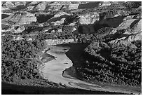 Little Missouri river bend and badlands in summer. Theodore Roosevelt National Park, North Dakota, USA. (black and white)