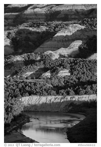 Badlands and Little Missouri river. Theodore Roosevelt National Park (black and white)