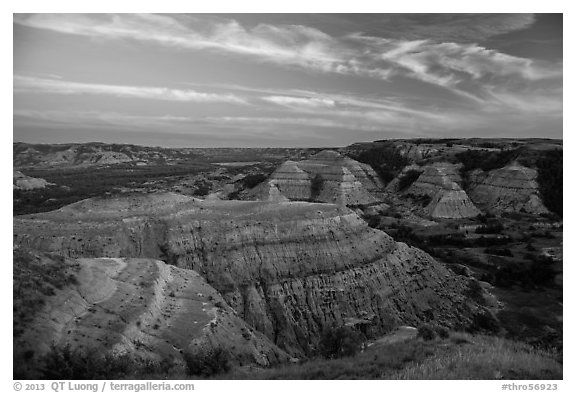Badlands at sunset, North Unit. Theodore Roosevelt National Park (black and white)