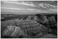 Badlands at sunset, North Unit. Theodore Roosevelt National Park, North Dakota, USA. (black and white)