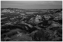 Badlands and Little Missouri oxbow bend at dusk. Theodore Roosevelt National Park, North Dakota, USA. (black and white)