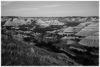 Badlands at dusk. Theodore Roosevelt National Park ( black and white)