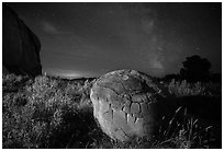 Cannonball, grasses and Milky Way. Theodore Roosevelt National Park, North Dakota, USA. (black and white)