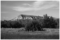 Badlands in late afternoon, Elkhorn Ranch Unit. Theodore Roosevelt National Park, North Dakota, USA. (black and white)