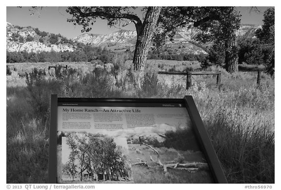 Interpretive sign, Roosevelt Elkhorn Ranch site. Theodore Roosevelt National Park (black and white)