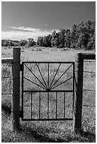 Entrance gate to Roosevelt Elkhorn Ranch site. Theodore Roosevelt National Park, North Dakota, USA. (black and white)