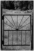 Entrance gate to Elkhorn Ranch homestead. Theodore Roosevelt National Park ( black and white)