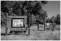 Entrance to Elkhorn Ranch Unit. Theodore Roosevelt National Park, North Dakota, USA. (black and white)