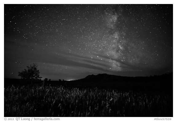 Milky Way, Elkhorn Ranch Unit. Theodore Roosevelt National Park (black and white)