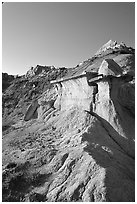 Caprock formations, South Unit. Theodore Roosevelt National Park, North Dakota, USA. (black and white)