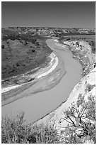 Bend of the Little Missouri River, mid-day. Theodore Roosevelt National Park ( black and white)