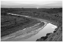 Little Missouri River, sunset. Theodore Roosevelt National Park, North Dakota, USA. (black and white)