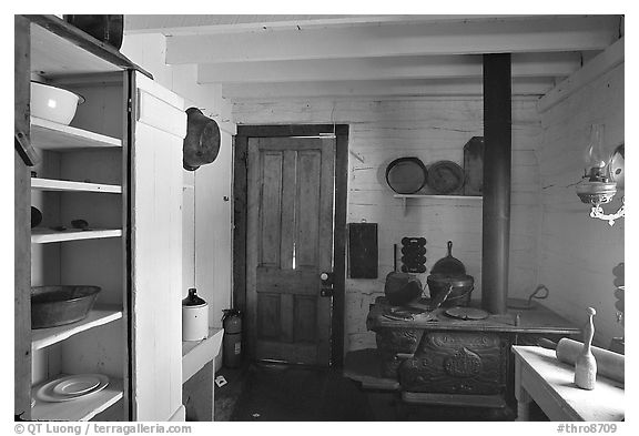 Kitchen of Roosevelt's Maltese Cross Cabin. Theodore Roosevelt National Park (black and white)