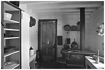 Kitchen of Roosevelt's Maltese Cross Cabin. Theodore Roosevelt National Park ( black and white)