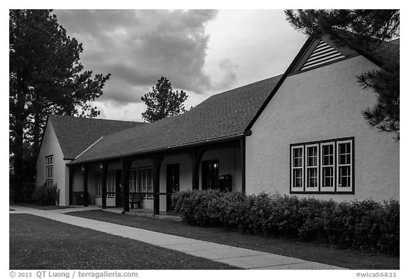 Visitor center at dusk. Wind Cave National Park (black and white)