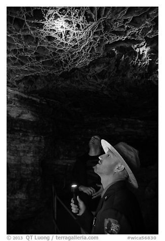 Ranger pointing flashlight at boxwork. Wind Cave National Park (black and white)
