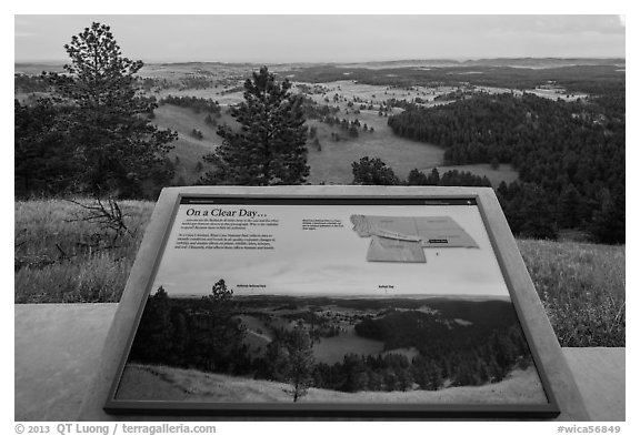 Interpretive sign, Rankin Ridge view. Wind Cave National Park (black and white)