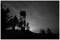 Lookout tower at dusk, Rankin Ridge. Wind Cave National Park ( black and white)