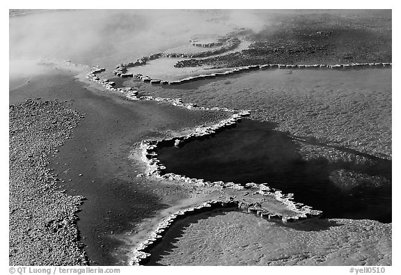Travertine formations in Upper geyser basin. Yellowstone National Park (black and white)
