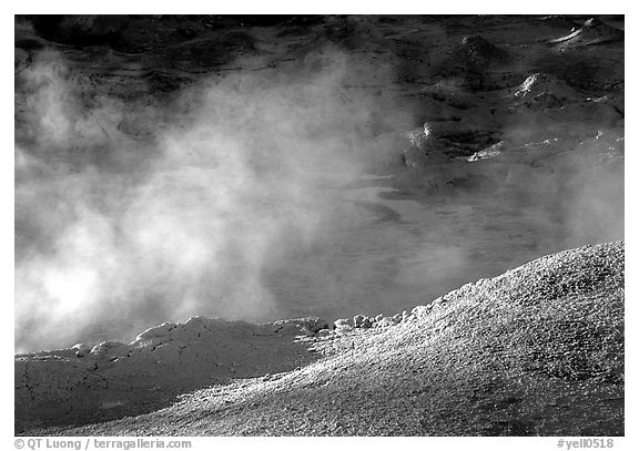 Mud cauldron at fountain paint pot. Yellowstone National Park (black and white)