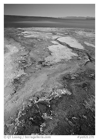 West Thumb geyser basin and Yellowstone lake. Yellowstone National Park (black and white)