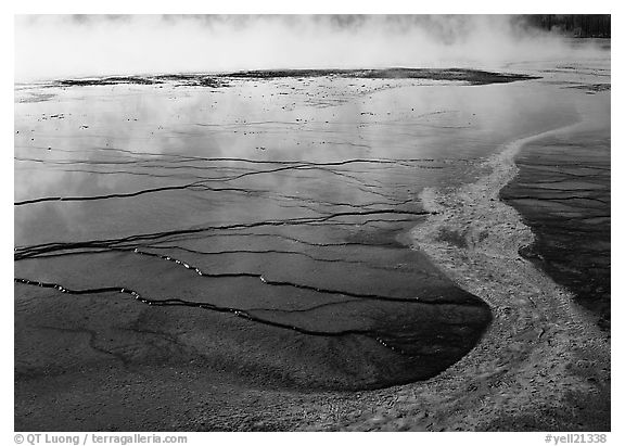 Great Prismatic Springs. Yellowstone National Park (black and white)