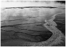 Colorful streak and terraces, Great Prismatic Springs. Yellowstone National Park ( black and white)
