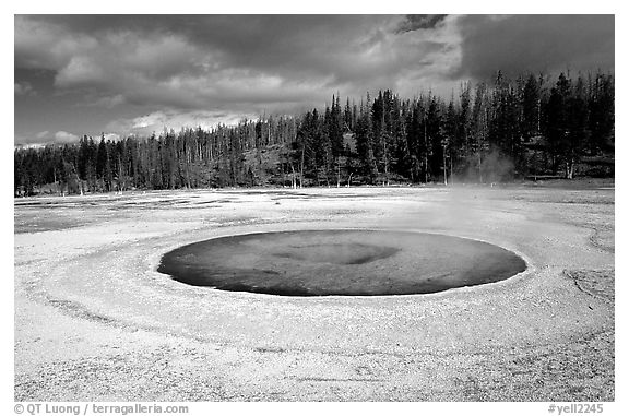 Chromatic Pool in Upper Geyser Basin. Yellowstone National Park (black and white)