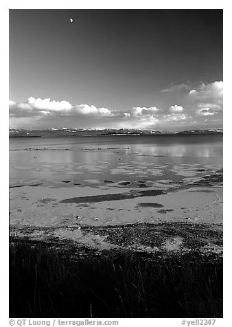 Yellowstone Lake with frozen shores, sunset. Yellowstone National Park (black and white)